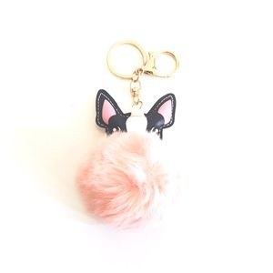 Accessories - Cute fuzzy pink Pom Pom dog keychain